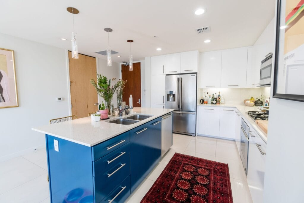 modern eclectic kitchen with Persian rug