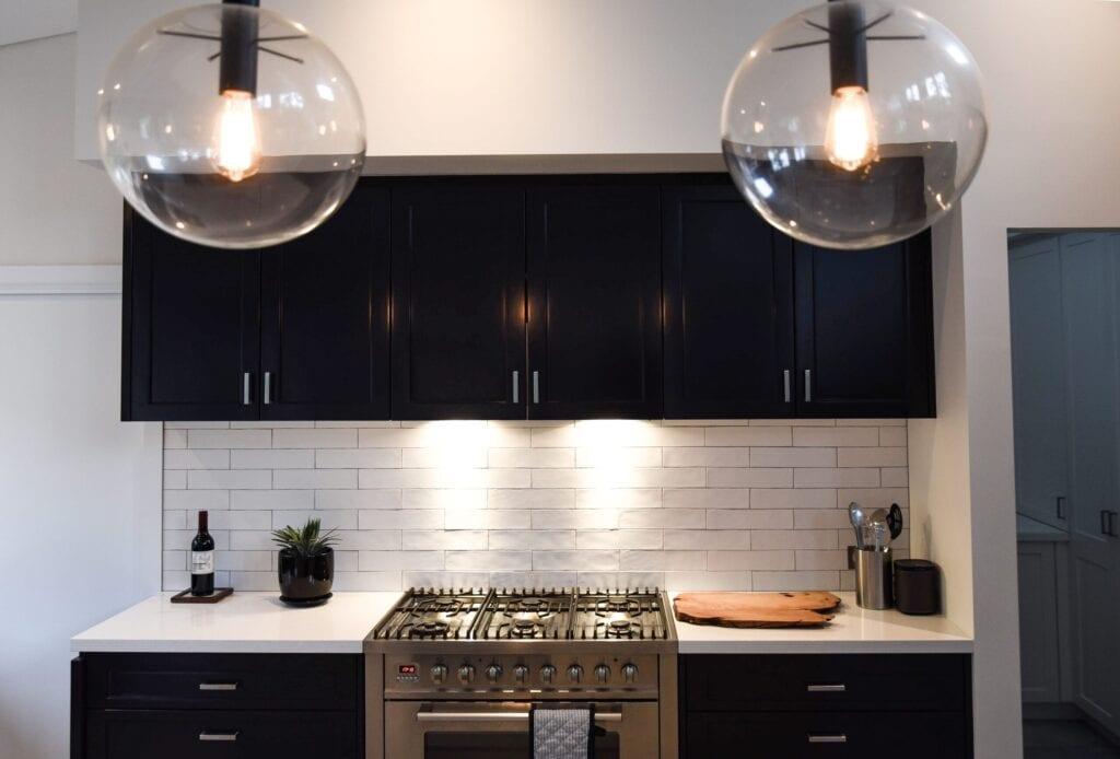 modern lightbulbs in kitchen