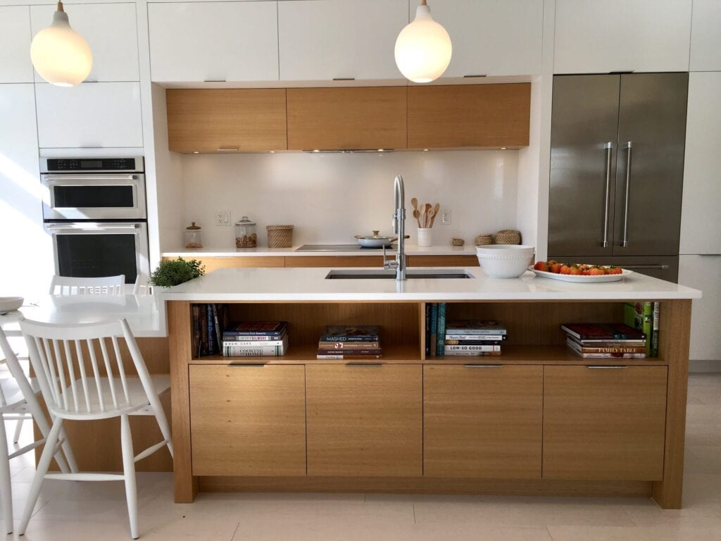 modern kitchen with wood cabinet