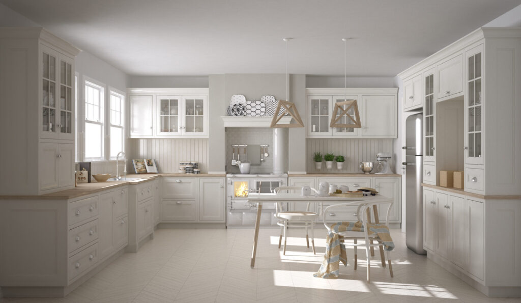 Scandinavian classic white kitchen with wooden details, minimalistic interior design