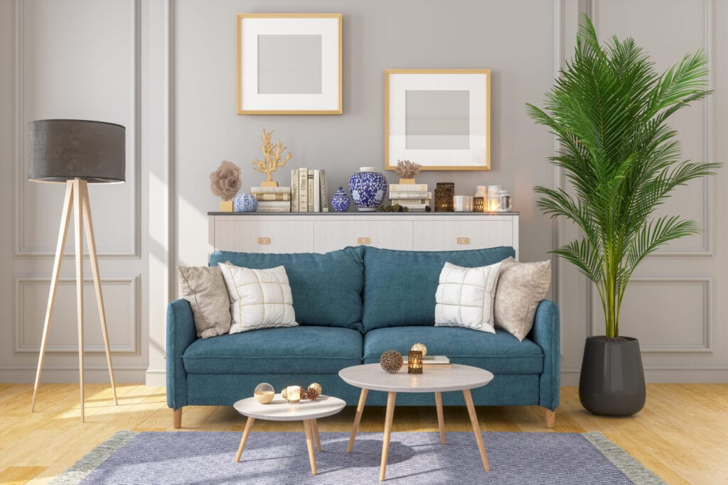 Living Room Interior With Picture Frame On Gray or greige Walls and teal sofa