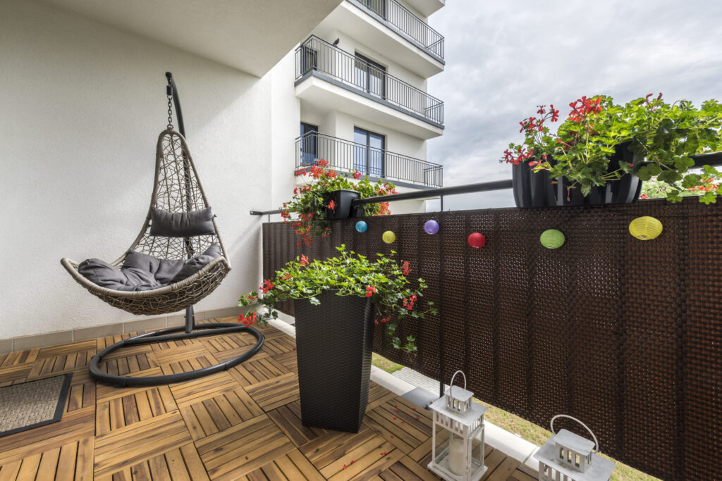 Home terrace with wooden floor and chair