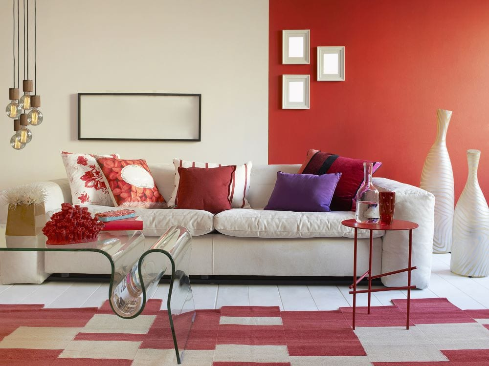 White and red patterned floor in living room