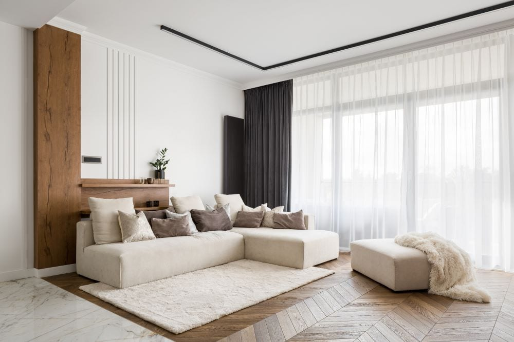 Modern living room with mixed wood and marble floor