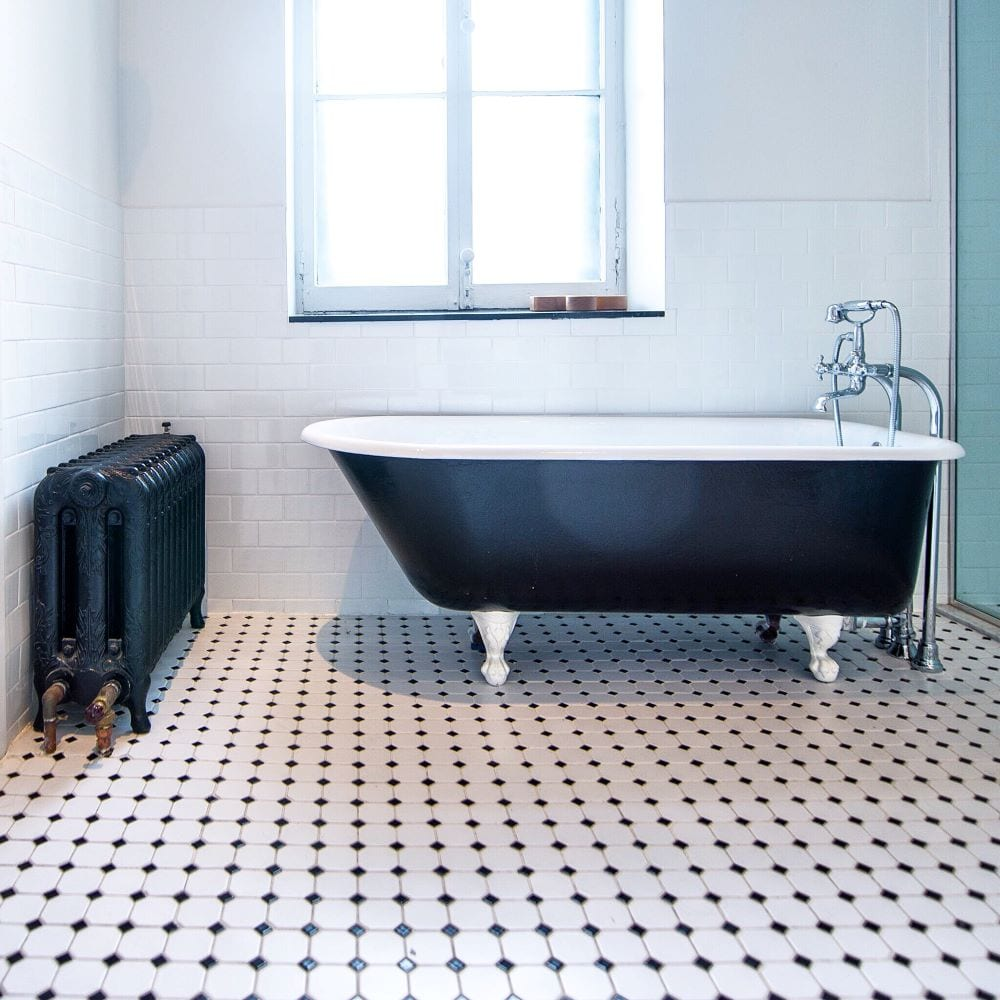 Black and white tile floor in bathroom