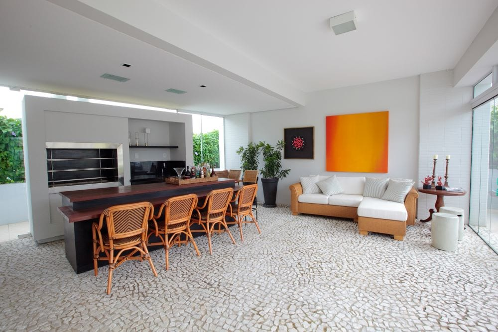 Cobblestone style flooring in living room and dining area