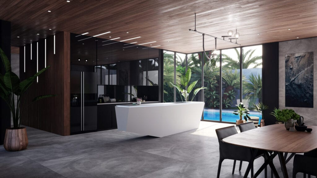 Modern kitchen with geometric white island and wood ceilings and walls