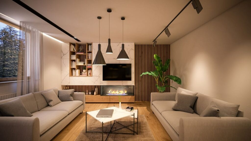 Modern living room with accent wall made of wood