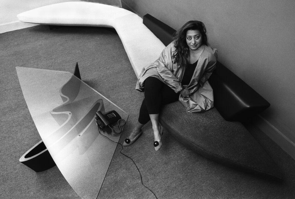 Iraqi architect Zaha Hadid in her London office, UK, circa 1985. (Photo by