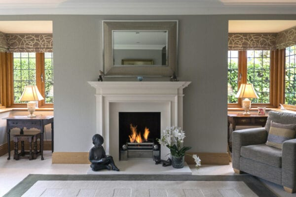 white trim fireplace in a traditional home
