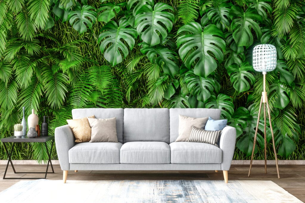 Sofa with Plants on Wall Background.