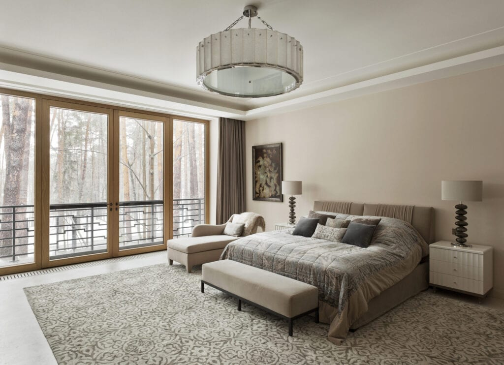 Bedroom in mansion house in the suburbs of Moscow