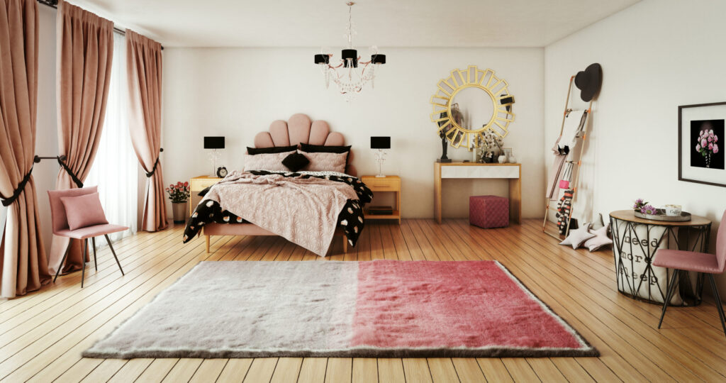 Digitally generated warm and cozy pink themed girl's bedroom interior design, with messy bed and lots of props. The scene was rendered with photorealistic shaders and lighting in Autodesk® 3ds Max 2016 with V-Ray 3.6 with some post-production added.