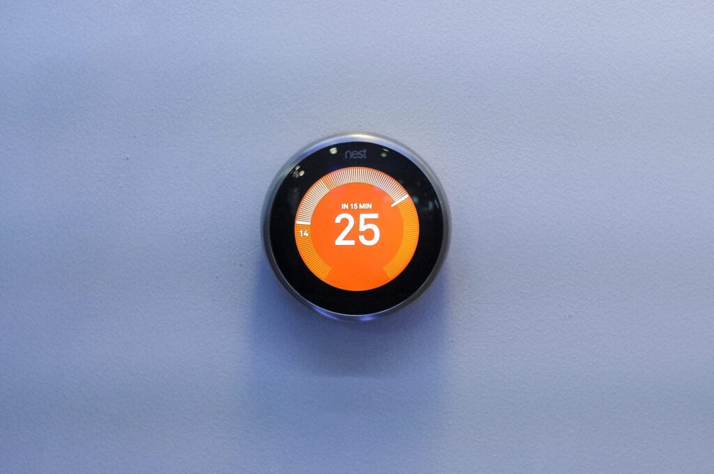 Nest Learning Thermostat,  exhibited in a Google pavilion during the Mobile World Congress, on February 27, 2019 in Barcelona, Spain.   (Photo by Joan Cros/NurPhoto via Getty Images)