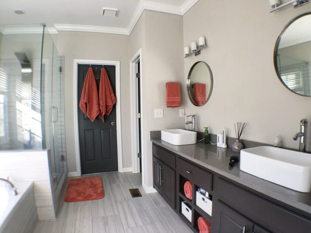 Gray and white master bathroom