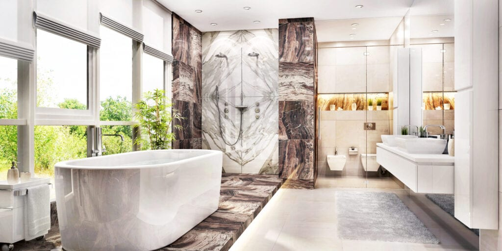 Modern large bathroom with big windows