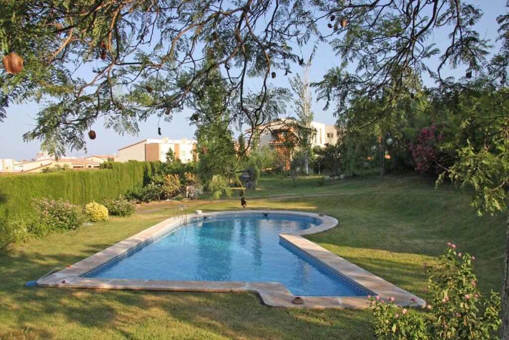 Big swimming pool at luxury garden