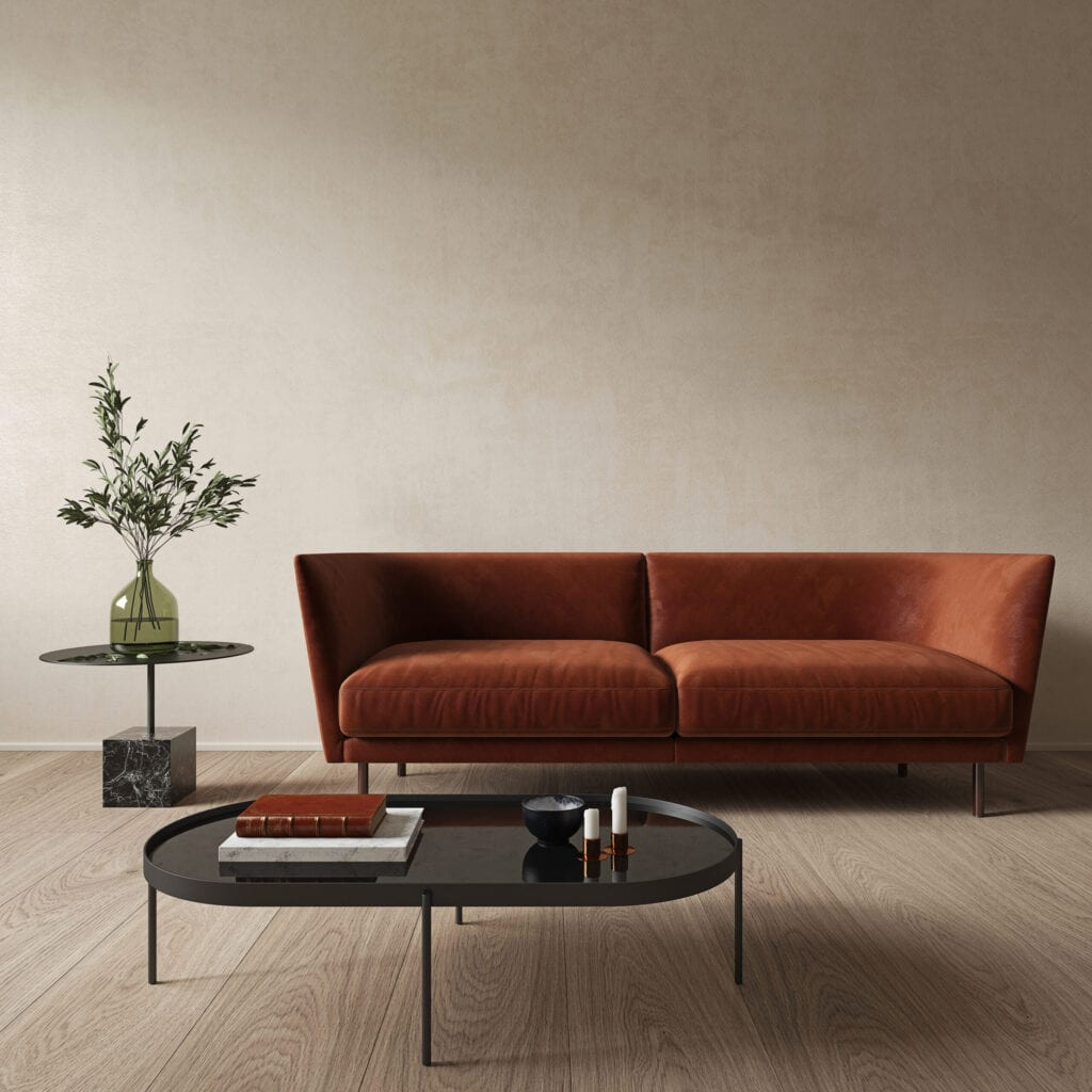 Modern minimalist beige interior with orange sofa and coffee table. 3d render illustration mock up.