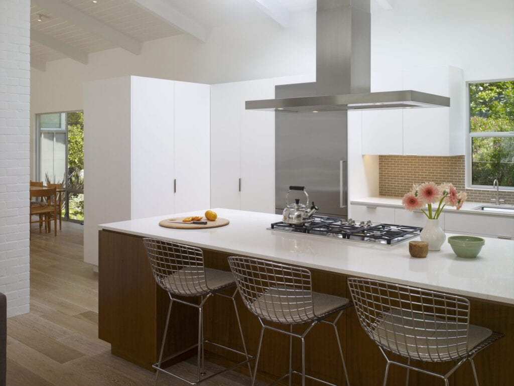 Mid Century Modern house in Los Angeles, California. Open plan kitchen area with natural light.