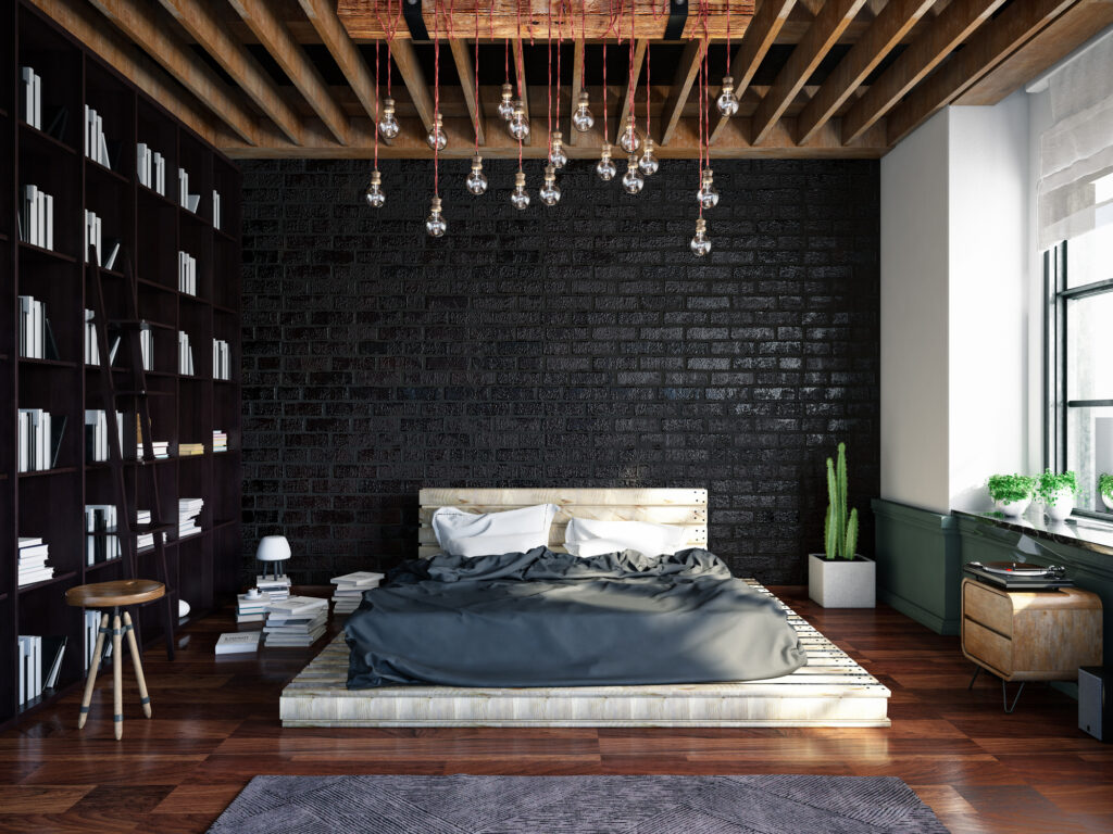 Loft room with cozy design and brick wall