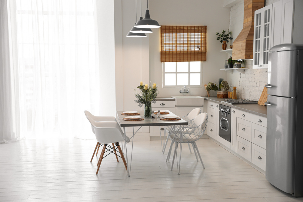 Modern apartment kitchen with dining area
