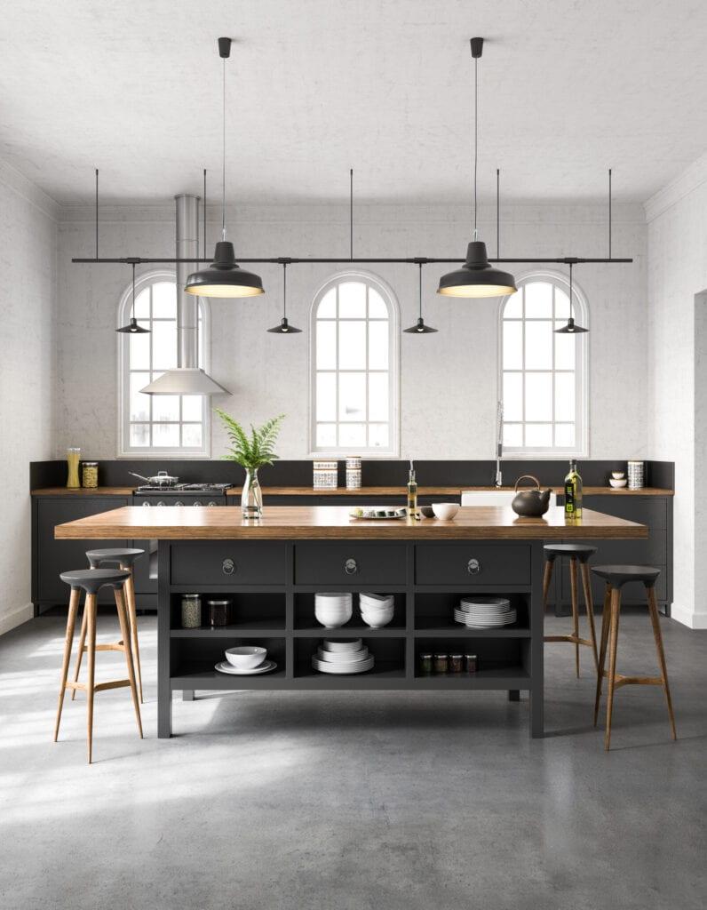 Industrial kitchen interior. Render image.