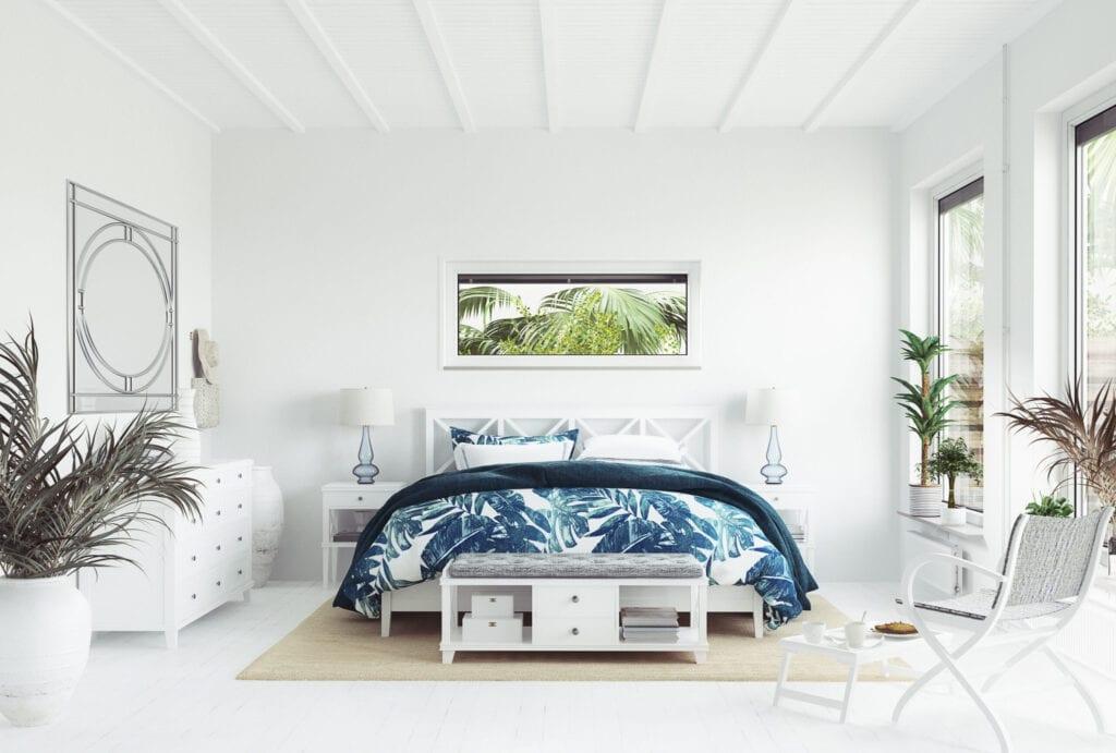 White tropical bedroom interior, Coastal style