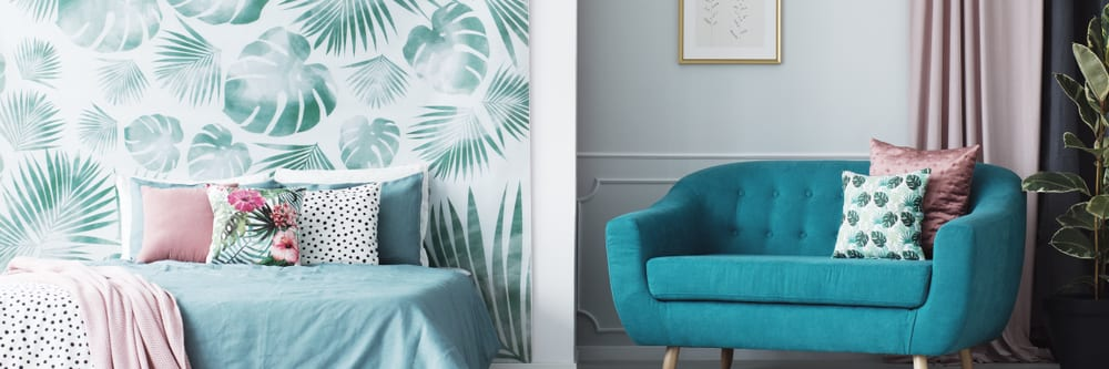 Tropical print room decor