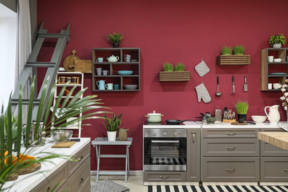 Pink kitchen with tropical accents