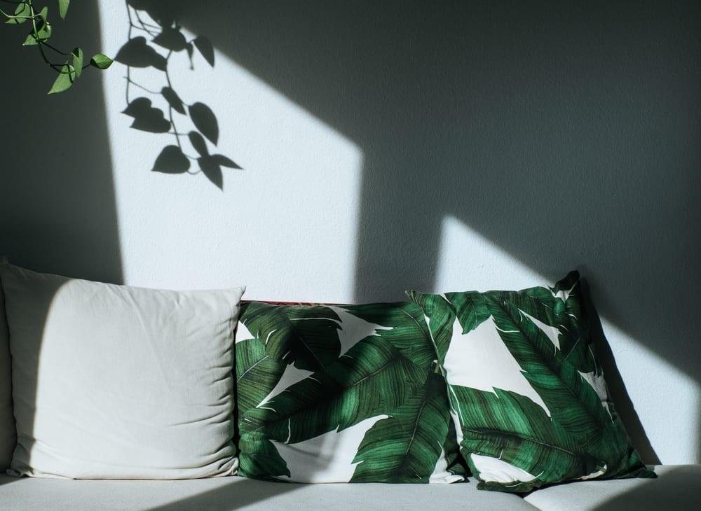 Tropical leaf print pillow