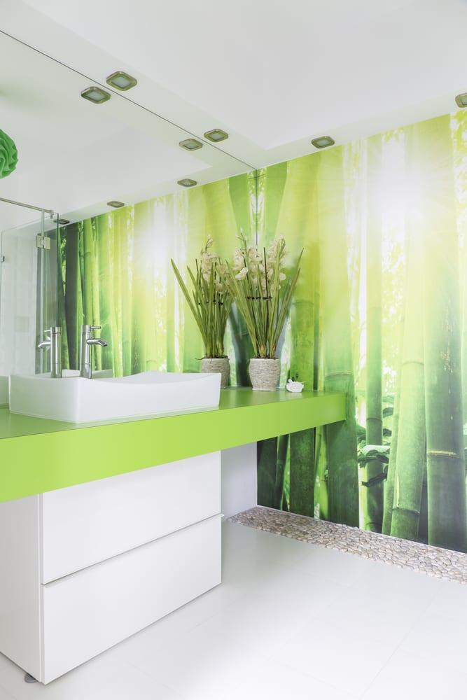 Bathroom with bamboo shoot wallpaper
