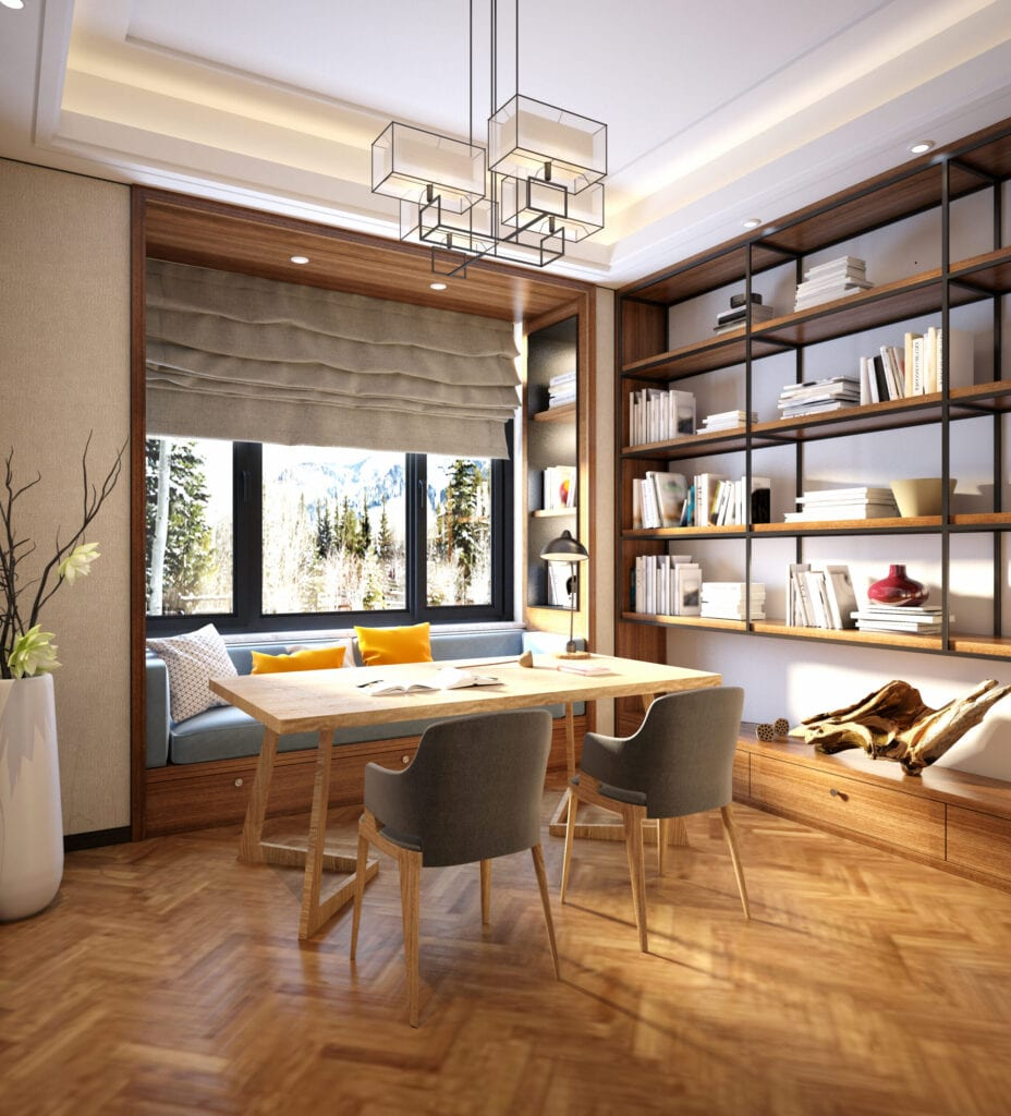 3d render of study room