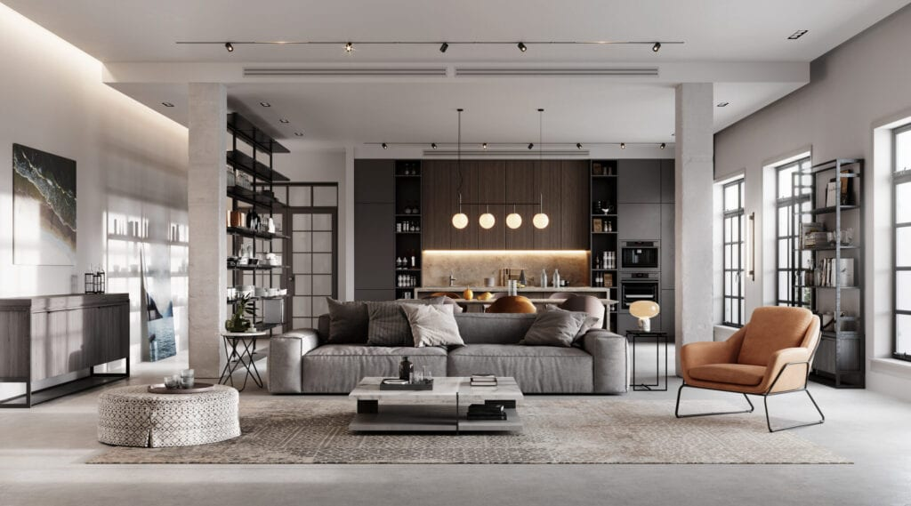 Computer generated image of a luxurious and modern living room interiors. 3D Rendering of a full furnished living Room.