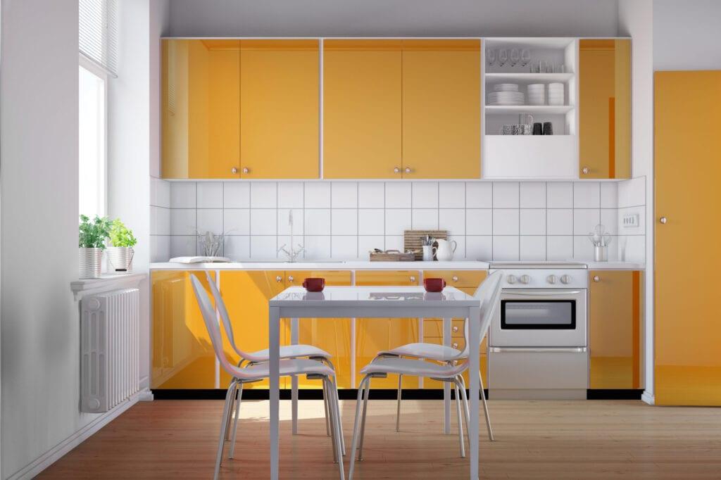 yellow small kitchen
