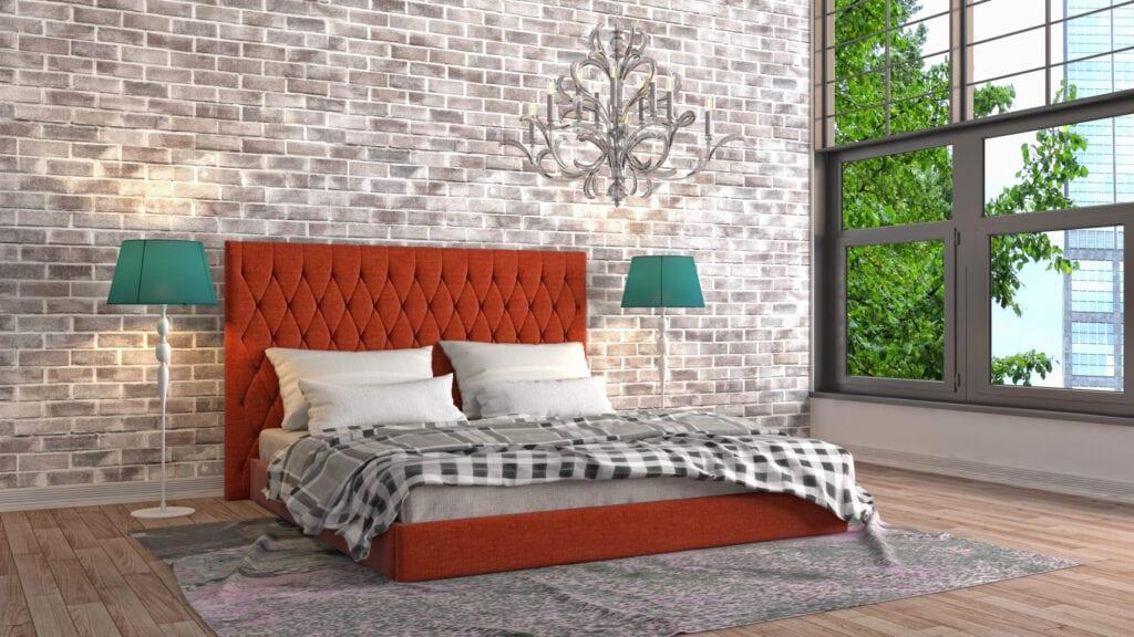 bedroom with burnt orange