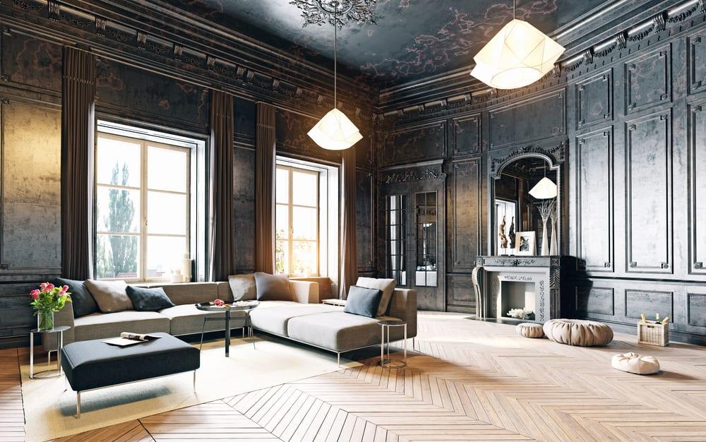 Modern, vintage living room