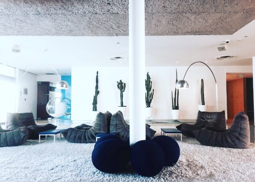 Famikly room with fun floor seating, cactus decor on wall