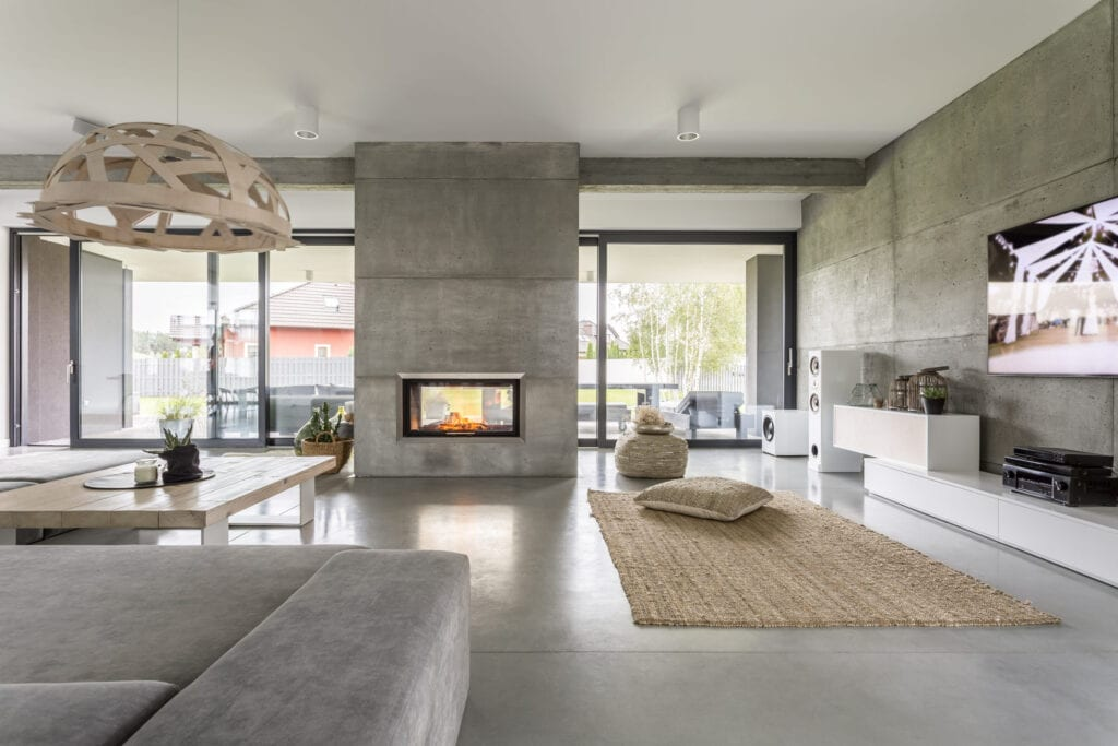 Beautiful home interior, fireplace and gray floors