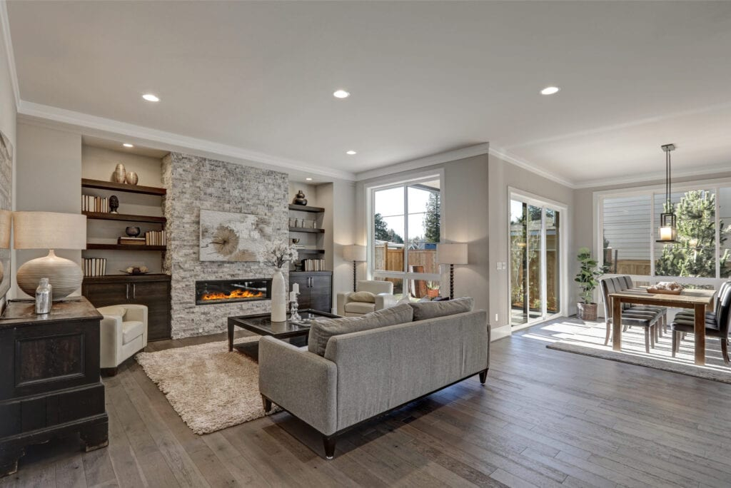 Transitional style interior design, living room and dining room
