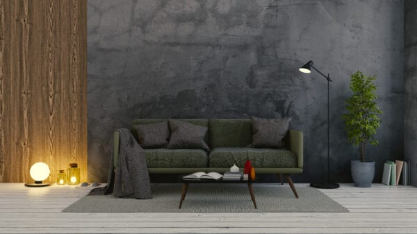 Modern Vintage Interior Of Living Room Design, Green Sofa On Dark Concrete Wall