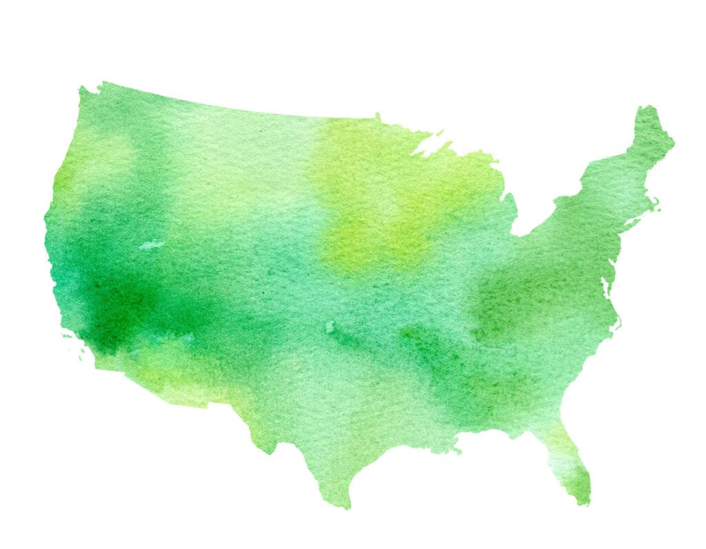 Drawing of the United States of America in green on clear background