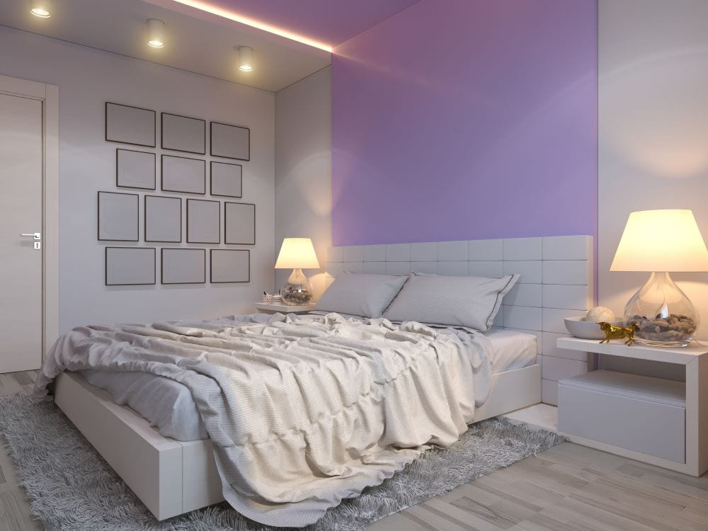 Gray and purple bedroom with lilac accent wall