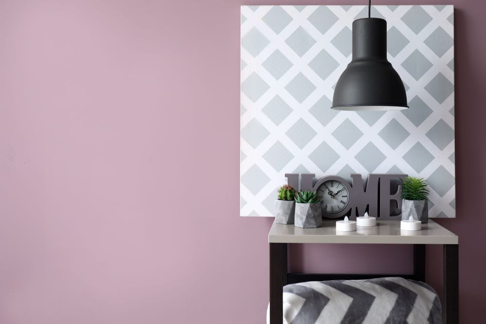 Home decor, lilac wall with black and white table decor