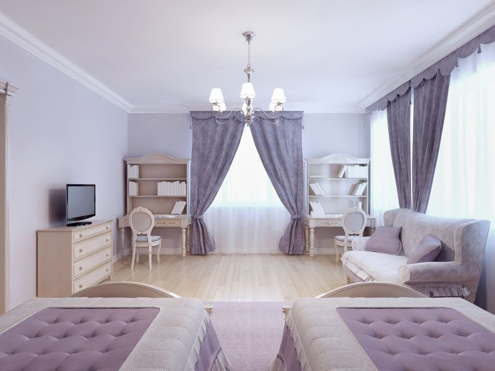 Luxury kids room with two twin beds and lilac decor