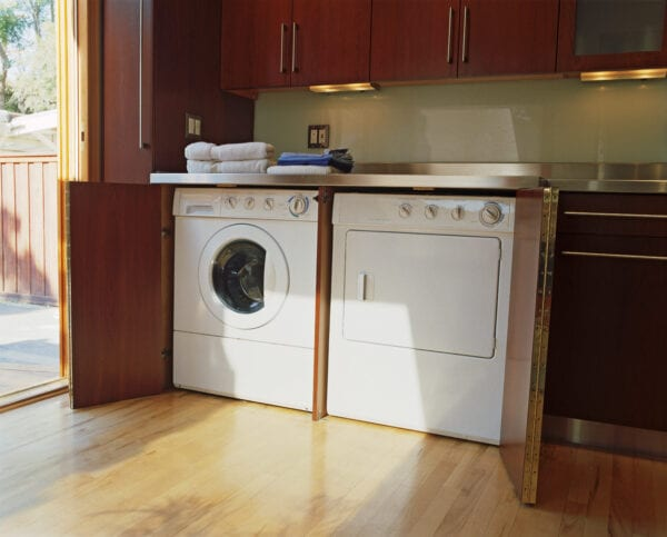 Washer and Dryer in Corner of Kitchen
