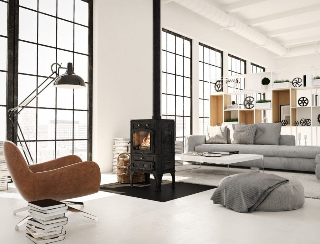 Modern living room with central metal fireplace