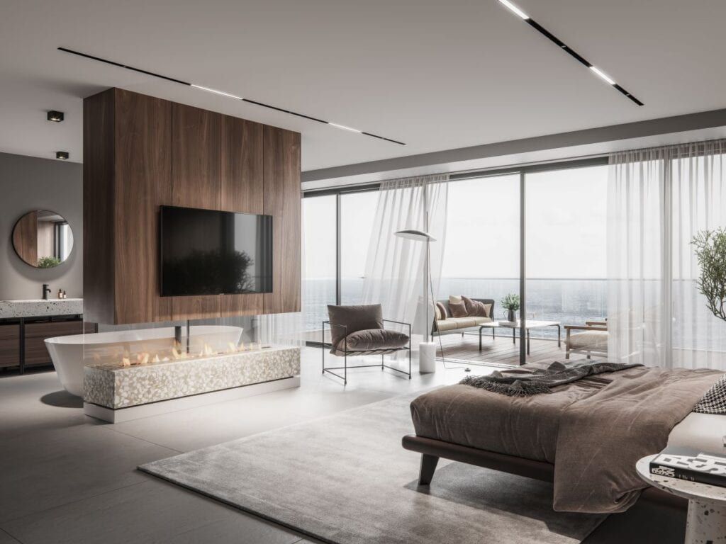 Fireplace inside luxury bedroom and bathroom