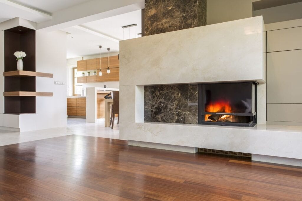 Marble and brick stone fireplace