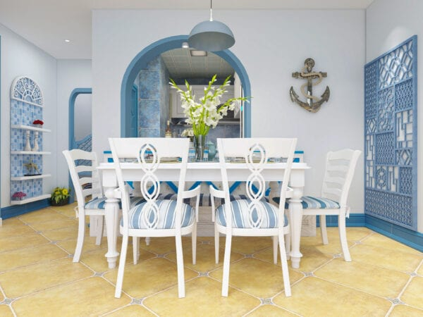 3D rendering, blue Mediterranean style dining room area design, wooden dining table with wooden dining chair and deck