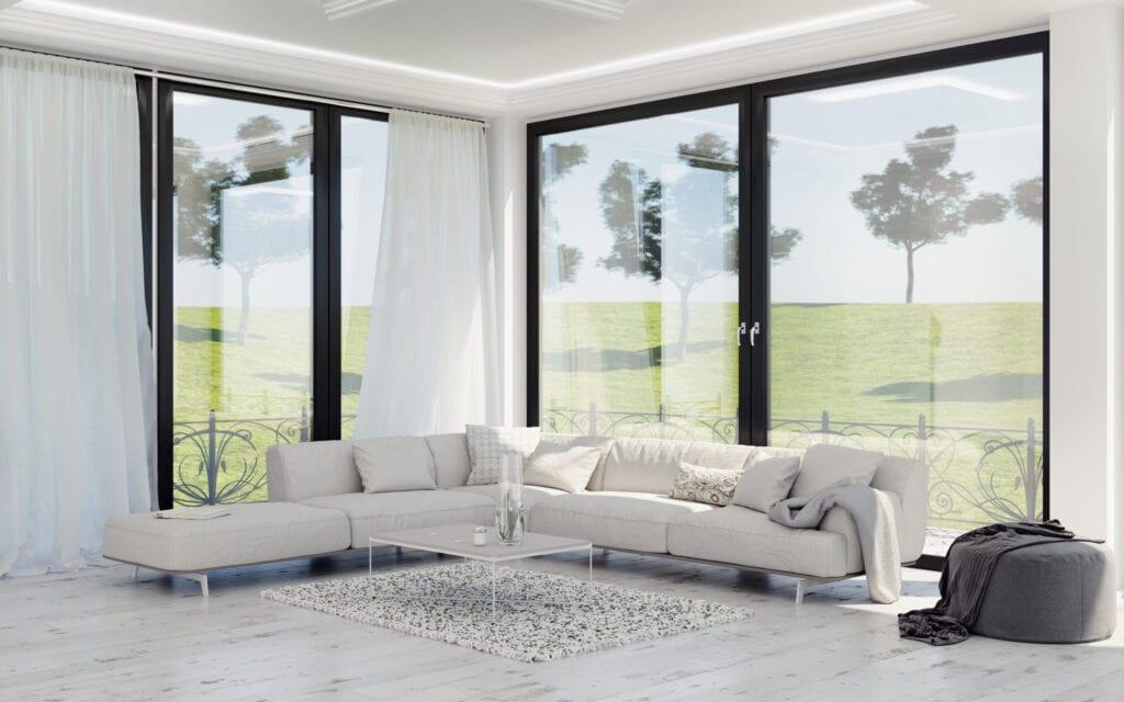 Modern interior design of living room, countryside